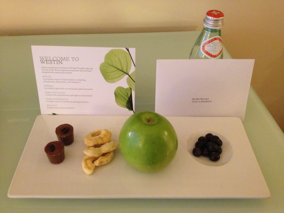 COMPLIMENTS OF THE WESTIN FOR OUR 10TH SPG STAY | CHOCOLATES, DRIED APPLE, BLUEBERRIES AND AQUA