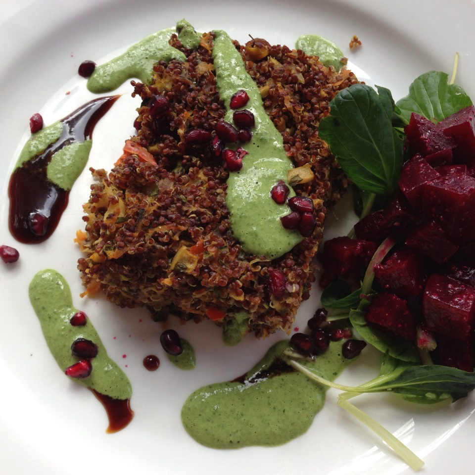 QUINOA VEGE BAKE WITH BEETROOT, TAHINI DRESSING & POMEGRANATE SEEDS | LIGHT LUNCH AT KUKURA HOUSE