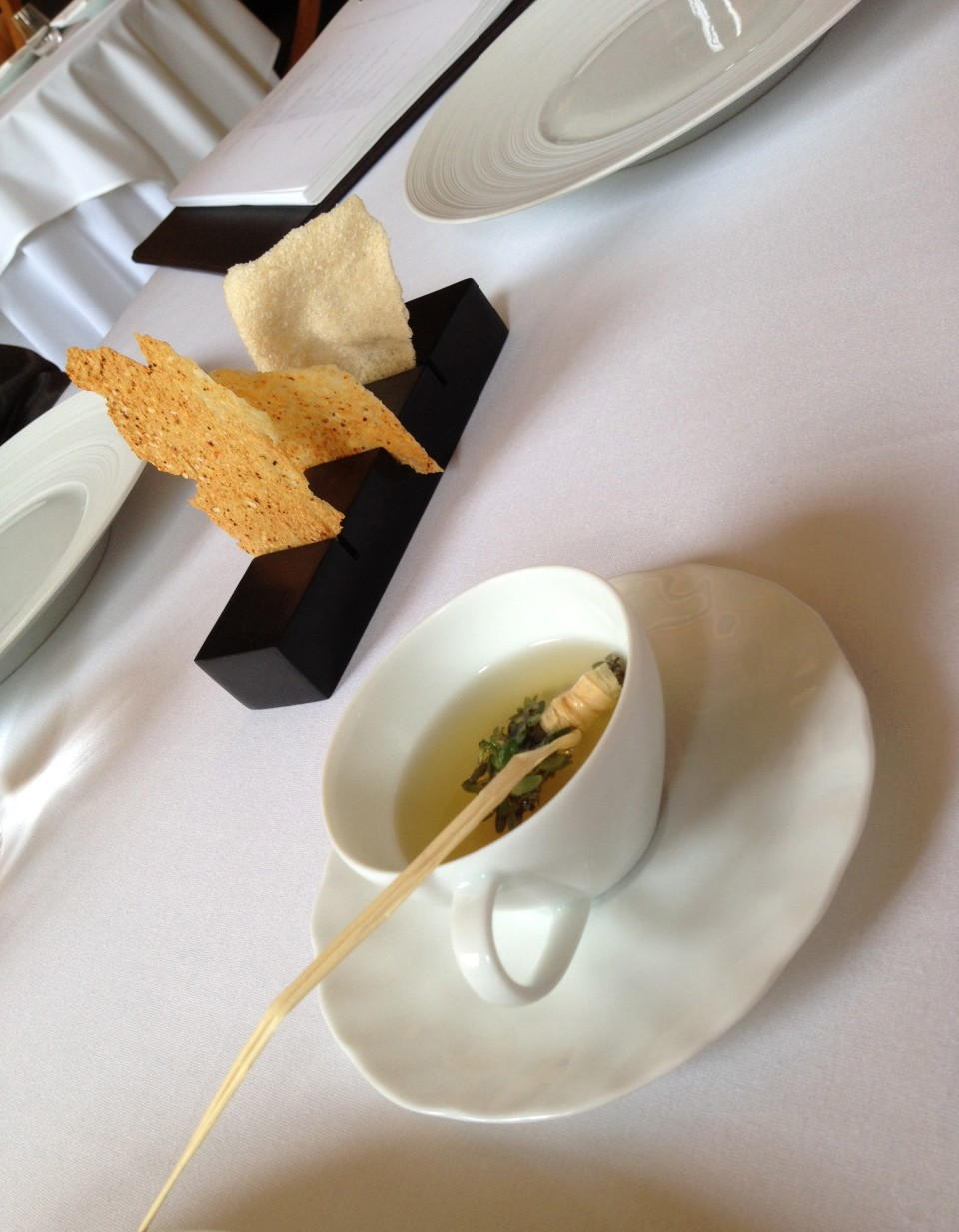 TASTING MENU | 1 - TOMATO Tea with Parmesan Lavash and Lemon Thyme