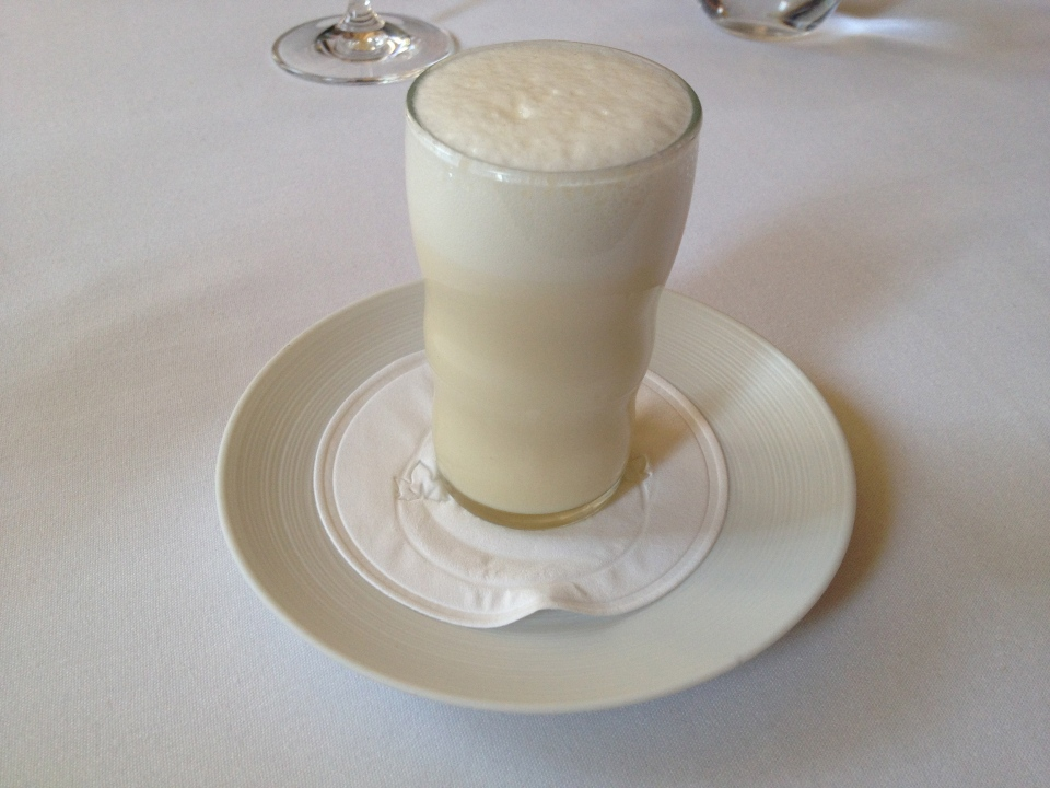 TASTING MENU | 11 - EGG CREAM Orange, Cocoa Nib and Seltzer prepared at our table