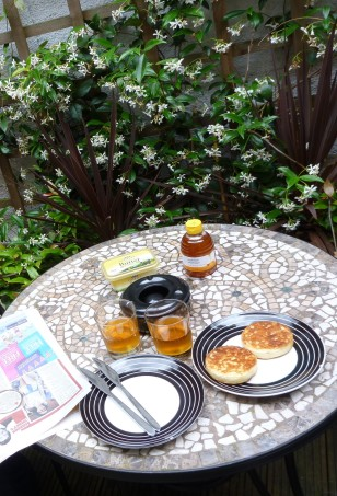 GF CRUMPETS AND HONEY ON THE TERRACE