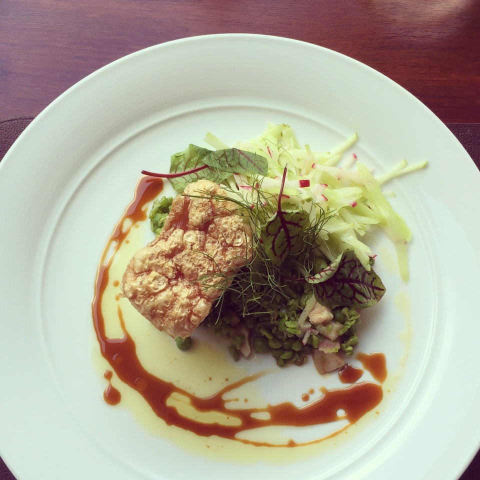 BYRON BAY PORK BELLY CELERY AND APPLE REMOULADE, CRUSHED PEAS AND APPLE BALSAMIC