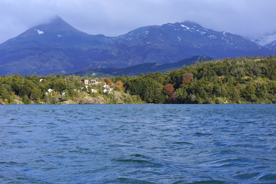 VIEW OF PATAGONIA CAMP FROM THE KAYAK IN LAGO TORO