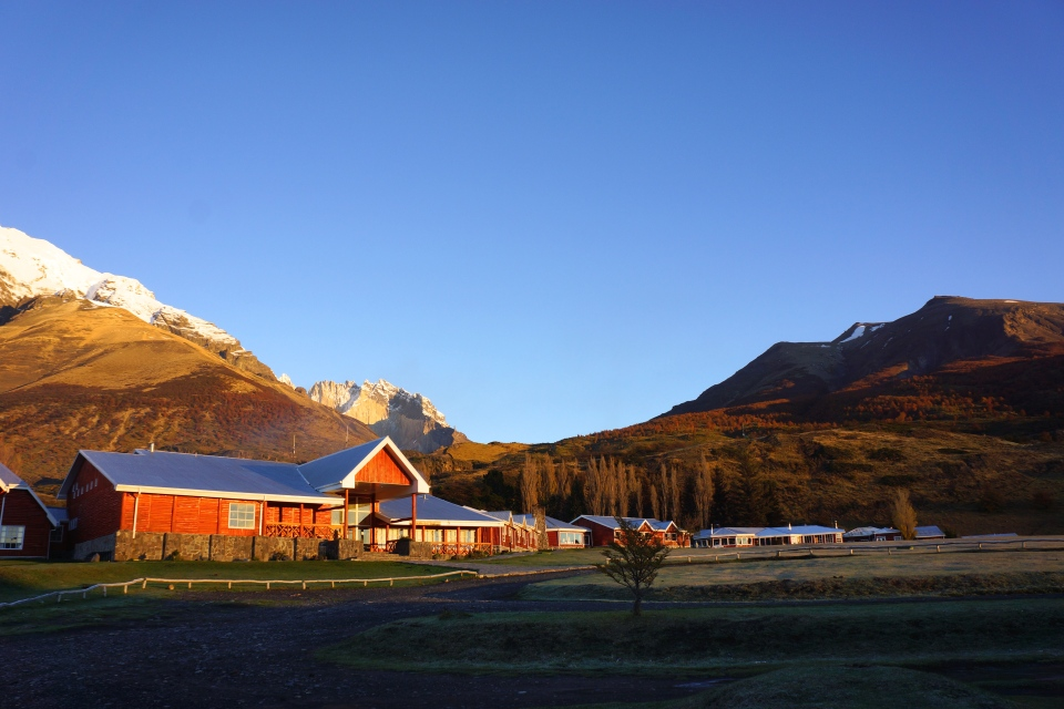 TORRES BASE TREK BEGINS FROM HOTEL LAS TORRES PATAGONIA THAT HAD JUST CLOSED FOR THE SEASON
