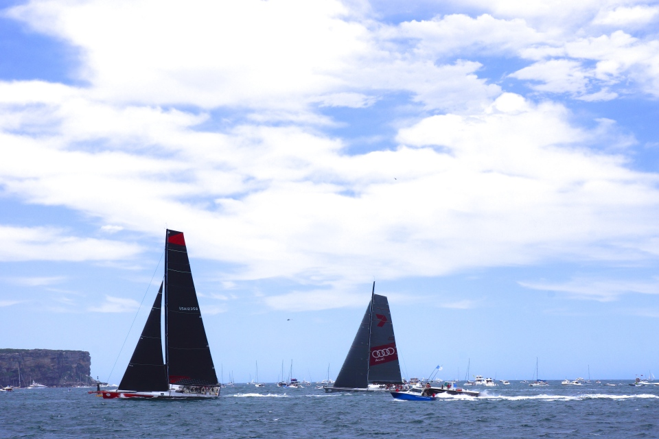 COMANCHE AND WILD OATS XI AT SYDNEY HEADS